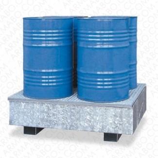 Bac de rétention acier avec caillebotis - 220 litres 1F