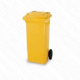 Conteneur à déchets jaune 2 roues - 120 litres