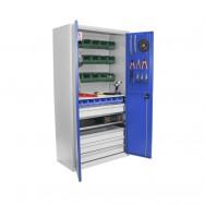Armoire haute Armabo - Porte-outils + 23 bacs + tiroirs